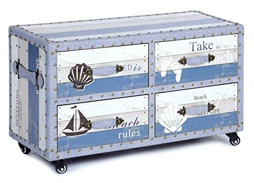 ts-ideen Landhaus Design Kommode Schrank Sideboard mit 4 Schubladen auf Rollen -