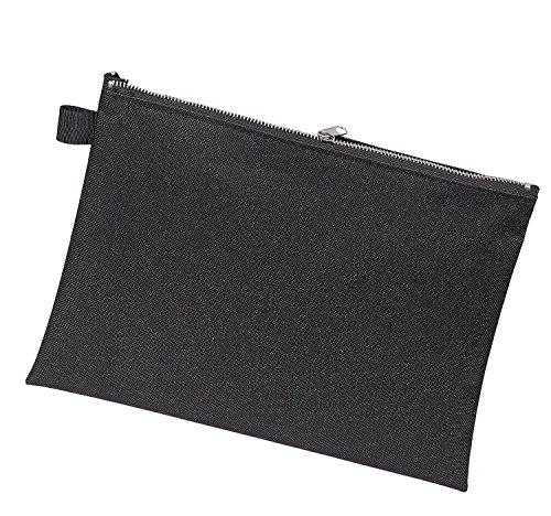 ktasche A5, Transporttasche, Geldtasche, robustes Textil, Metallreißverschluss, schwarz ()