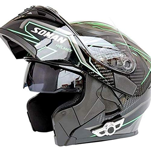 Motorrad Bluetooth Helm Smart Helm Anti-Fog Doppelspiegel Automatische Antwort Multifunktions Bluetooth Musik Flip Integralhelm (Schwarz Grün) (Size : XL)