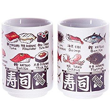 Japanische Tee Tasse, sushi-yunomi, Keramik, bedruckt Sushi und Fisch-Namen und durch Englisch und kanji, Set von 2 Fisch Tee