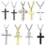 D&M Jewelry Collar con Colgante Cruz de Acero Inoxidable para Hombres Mujeres Jesucristo Señor Oración, Color Negro Plata Oro