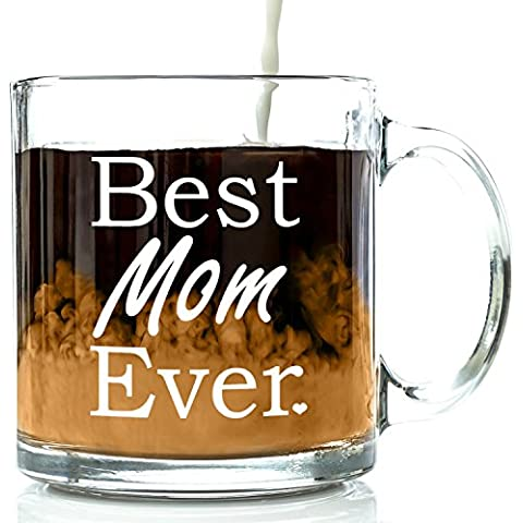 Best Mom Ever Glass Coffee Mug 13 oz - Best Christmas Gifts for Mom From Son or Daughter - Unique Birthday Gift For Women - Perfect Present Idea For Her, a New Mother, Wife, Sister or Grandma by Got Me Tipsy - Happy Elephant Tea