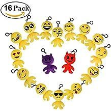 Cusfull Mini Emoji Llavero Emoji Llavero Ojos Lindos del Corazón Emoción Llavero Peluche Soft Party Bag regalo de relleno de juguete para los niños-16pcs