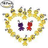 Cusfull Mini Emoji Portachiavi Portachiavi Partito Morbido Bel Regalo Emoji Peluche Cuscini Emoticon Sacchetto di Riempimento Giocattolo per i Bambini (16pcs)