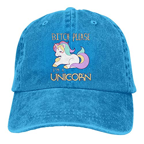 Oiup 089iuop H¨¹ndin, Bitte ich Bin EIN Einhorn L?ssige Unisex-Baseballm¨¹tzen Washed Cowboy Hat Adjustable Trucker Hat