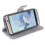 Moon mood® PU Leder Schutzhülle für HTC One M9 (5.0 Zoll) Weich TPU Innere 2 Kartenfächer Bunte Malerei Standfunktion Handytasche (Weiß Löwenzahn Paare Herz der Liebe) -