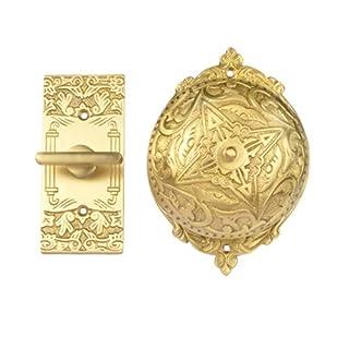 Adonai Hardware Belshazzar Brass Manual Old Fashion Door Bell or Twist Door Bell or Hand-Turn Door Bell - Satin Brass