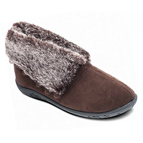 Padders Eskimo Donna in pelliccia sintetica Extra Wide (ee) Fit Pantofole Marrone Brown