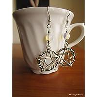 Orecchini con pentacolo perle di opalite handmade