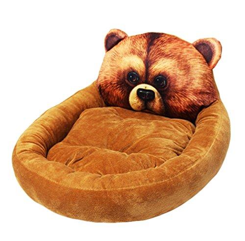 Lvrao letto per animali domestici testa animale forma divanetti per cani e gatti morbide materassino (orso bruno, l: 58*48*15cm)