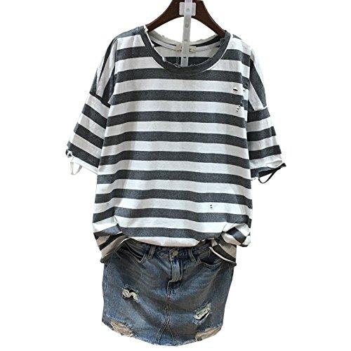 Xmy Version der Bettler die lose Masse wolle Baumwolle wilde bat Shirt gestreift Löcher Kurzarm T-Shirt weibliche Hälfte Ärmel sind Code, graue Streifen (Graue Wolle Runde)