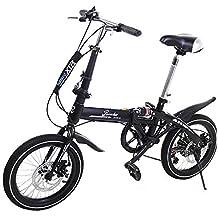 Riscko Super Bike Bicicleta Plegable Unisex de 16 (Negro)