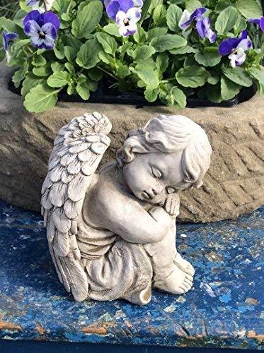 ruhender Engel Boy Stein Cherub Gartenfigur Statue Memorial