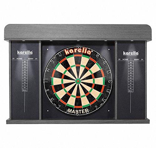 Roleo Dart Cabinett Kabinett Arena für Dartboards inkl. Beleuchtung und 3 Satz Dartflys