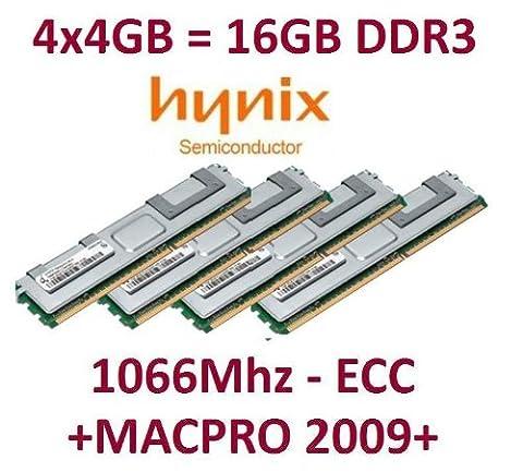 Hynix 4x 4GB = 16GB Kit 240broches ECC DDR3–1066PC3–8500R 128Mx4x 36double side (hmt151r7bfr4C Systèmes de G7) pour MacPro Nehalem 4,1(Année de construction 2009) avec dissipateur thermique