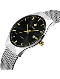 Men's Elite Business Quartz Watch Male Silver Ultrathin Stainless Steel Mesh Band Watch With Date (Black)