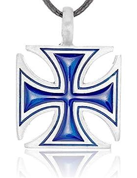 Llords Schmuck großes blaues eisernes Kreuz Anhänger Halskette, feinster Zinn Metall Modeschmuck