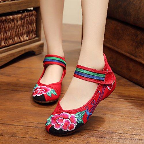 GXS Gestickte Schuhe, Leinen, Sehnensohle, ethnischer Stil, weibliche Schuhe, Mode, bequem Red
