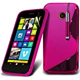 (Hot Pink) Nokia Lumia 630 elegante S-line Hydro Wave Gel Skin Case Cover, Aus- und einfahrbarem Touch Screen Pen & Screen Protector von *Aventus *