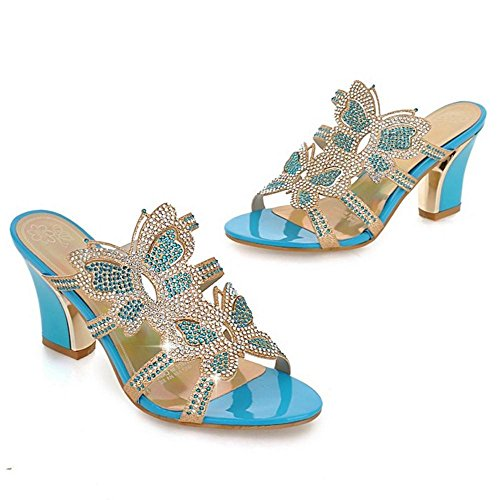 TAOFFEN Femmes Talons Bloc Chaussons blue