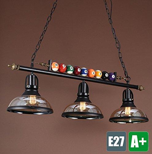 Industrie Kronleuchter Retro Industrielle Pendelampe Metall Glas Lampenschirm Hängelampe Vintage Pendelleuchte Einzigartige Hängeleuchte Billard Dekoration Beleuchtung Rustikal Leuchte Bar Lampe