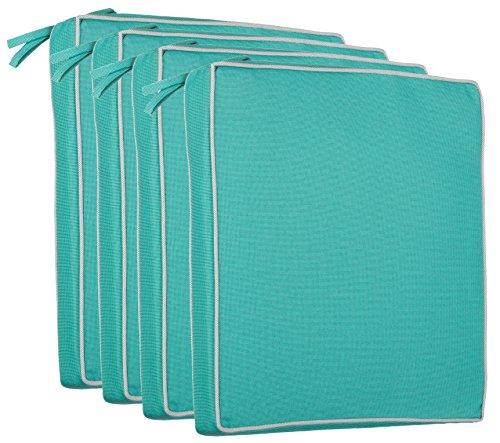 brandsseller Outdoor Sitzkissen Kissen Dekokissen - Schmutz- und Wasserabweisend - 220 gr. Füllung - Größe: 40 x 40 x 4 cm (4er-Vorteilspack, Türkis - Strukturiert)