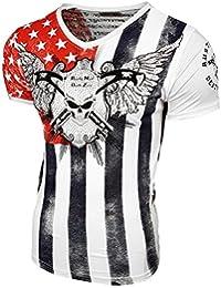 Rusty Neal V-Neck Skull Strass T-Shirt Kurzarm Slim Fit Design Fashion 15047 NEU