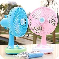 Dealcrox Plastic Mini Usb Reachargeable Fan(Multicolor)