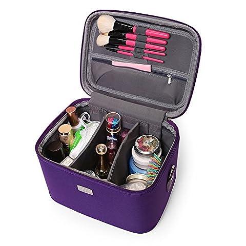 Sac cosmétique coréen de grande capacité sac cosmétique avec le déplacement de la benne étanche femelle package professionnel ,violet,10 pouces