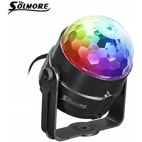 SOLMORE Mini palla lampada magica fase Luci da palco cristallo rotante sfera LED RGB effetto per KTV discoteca bar club Natale DJ Magic Ball cristallo Attivazione vocale