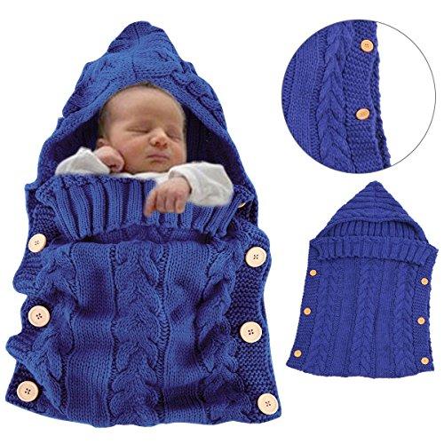 Sacco a pelo invernale per bambini 2.5 tog - sunroyal sacco a pelo per neonati di viaggio 70cm/0-12 mesi - bambino sacco a pelo di lana, morbido e comodo, coperta per divano e letto, sacco a pelo pesce per passeggino (blu)