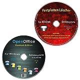 OpenOffice Premium Edition + Festplatten Löscher & Formatiere, Datenvernichter, Sichere Datenlöschung für Windows Betriebssysteme 10-8-7-Vista-XP (32 & 64 Bit) (2 CDs Spar-Set)