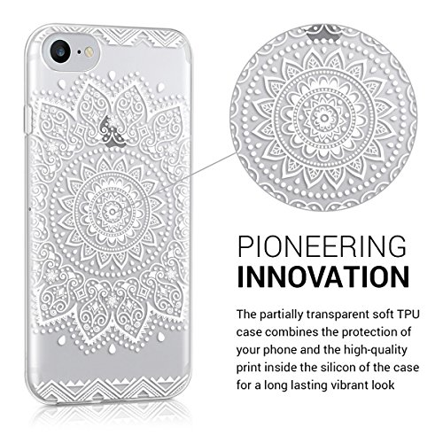 kwmobile Hülle für Apple iPhone 7 / 8 - TPU Silikon Backcover Case Handy Schutzhülle - Cover Metallic Rosegold Blume IMD Weiß Transparent