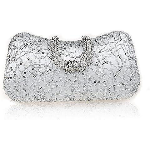 TBQING Nuova moda di borse fibbia strass sera borsa pochette banchetto pacchetto sposa damigella d'onore dress . silver