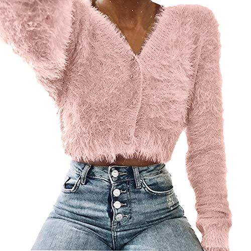 (♫♫ Amlaiworld Outdoor kurz Plüsch Stricken Jacken Bequeme bunt Langarmshirts Mode eng V-Ausschnitt Pullover Herbst Frauen Pulli)