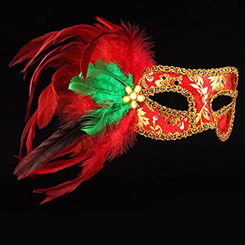 Halloween Masken Make-up Tanz Show Gemalte Prinzessin Beauty Party Feder Masken,rot