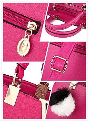 LDMB Damen-handtaschen Ms.-PU-Leder süße Lady v-förmige Messenger Portable Umhängetasche rose red