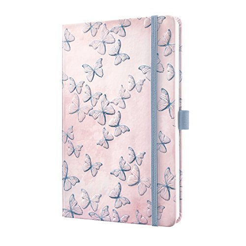 Sigel JN313 Notizbuch Jolie, ca. A5, liniert, Hardcover, Gummiband, Stifteschlaufe, Einsteckfach, Design Schmetterlinge - weiteres Modell