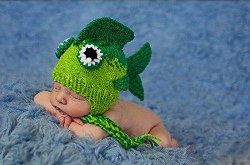 Cute Baby Newborn Infant handgefertigt Crochet Beanie Hat Fisch Hat Stil Baby Kleidung fotografiert Zubehör, Cartoon Fashion Kinder Fotografie Requisiten Foto Requisiten Kostüm Kleidung tragen (geeignet für Babys 0–27Monate zu tragen)