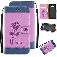 Ecoway Para Samsung Galaxy J7 (2016)/J710 Funda, Amantes de Rosa(Púrpura) PU Leather Cubierta , Función de Soporte Billetera con Tapa para Tarjetas Soporte para Teléfono