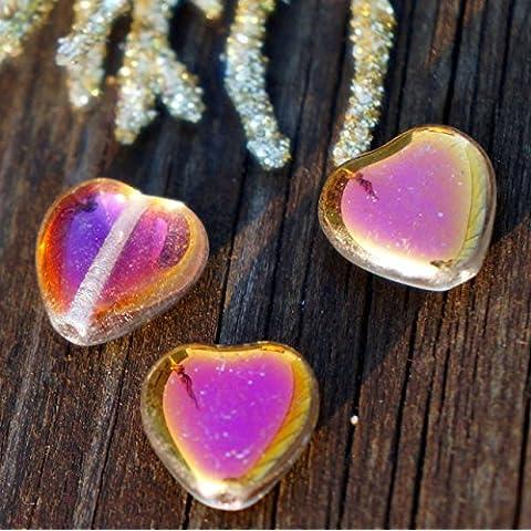 Metallizzato AB Vetro Trasparente Cuore del Cordone Metallico AB Cuore Perline di san Valentino del Cordone di san Valentino Perle di Vetro ceco da Sposa Perle Perle 10mm 12pc