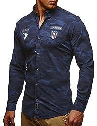 LEIF NELSON Hombres Camisa de Camuflaje del ejército Tendencia Ocio Corto de Manga Larga