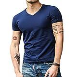 Dihope Shirt en Coton Manches Courtes V Cou Tee-Shirt Casual Haut Slim Fit Top pour Homme Printemps Automne