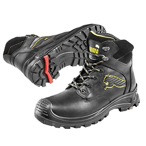 Puma Safety Shoes Borneo Black Mid S3 HRO SRC, Puma 630411-202 Unisex-Erwachsene Sicherheitsschuhe, Schwarz (schwarz/gelb 202), EU 39 (Black Engineer-stiefel)