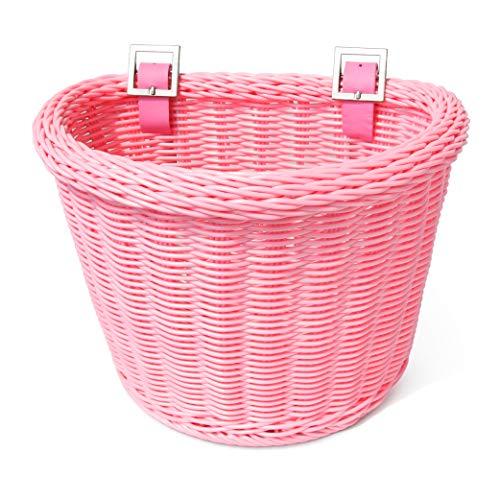 Colorbasket 02171 Front Handle Bar Junior Bike Basket, All Weather, Water Resistant, Adjustable Leather Straps, Food-Contact Safe, Pink
