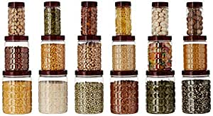 Amazon Brand - Solimo Checkered Jar Set of 18