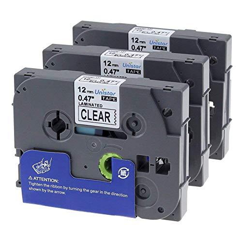 3 Pack Nastri per Etichette Cassetta Nastro Laminato Compatible Brother TZe-131 / TZ-131 / Nero su Trasparente / 12mm x 8m / para Brother P-Touch 1000W 1010 1090 1830VP 2030VP