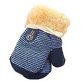 Handschuhe, Niedliche Baby Jungen Mädchen Kleinkind Gestrickte Winter Warme Handschuhe (1 bis 4 Jahre) (Dunkelblau)