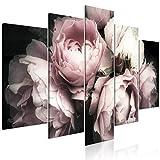 decomonkey Bilder Blumen 100x50 cm 5 Teilig Leinwandbilder Bild auf Leinwand Vlies Wandbild Kunstdruck Wanddeko Wand Wohnzimmer Wanddekoration Deko Rose Natur
