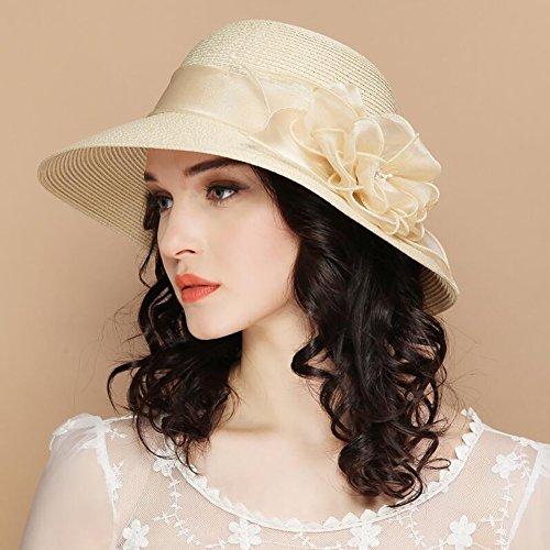 HWTYM Chapeau de paille Été Vacances en plage pour les femmes Voyage Chapeau en paille Grand chapeau de paille pliant en plein air ( Couleur : 1* ) 2*